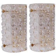 Huge Pair of Brass Carl Fagerlund Wall Lamps by Lyfa and Orrefors Glass