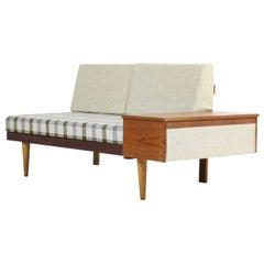 1950er norwegische Teak & buche ausziehbare Schlafcouch Svane Møbler Norwegen Sofa #2