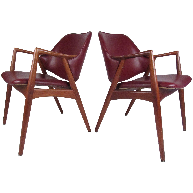 Pair of Mid-Century Barrel Back Teak Armchairs in the Style of Erik Kirkegaard