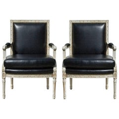 Vintage Louis XVI Bergere's in Black and White