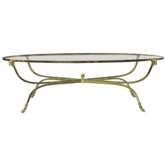 Vintage Italian Brass and Glass Ram Head Hairy Hoof Foot Oval Coffee Table