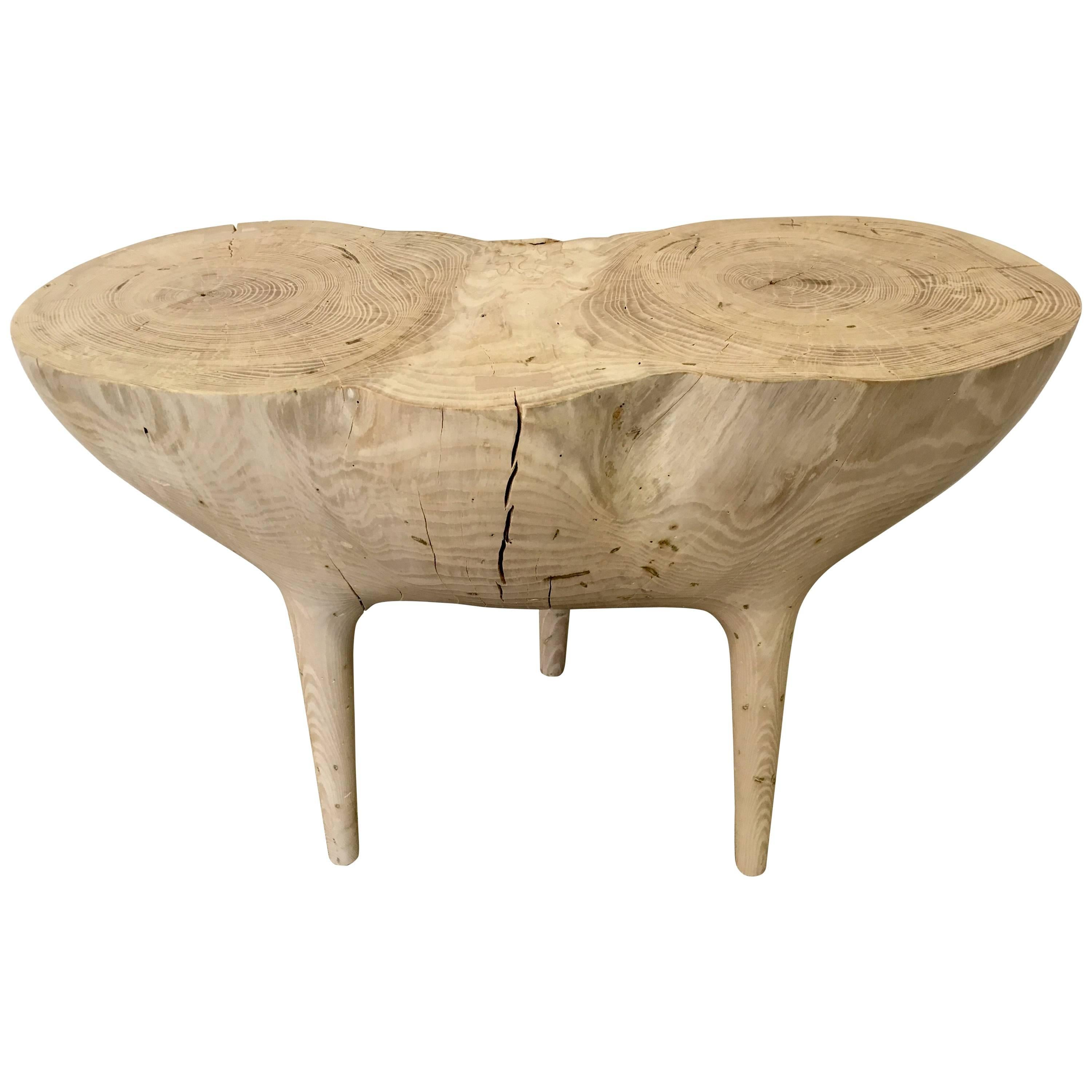 Bleached Ash Contemporary Hand-Carved Side Table