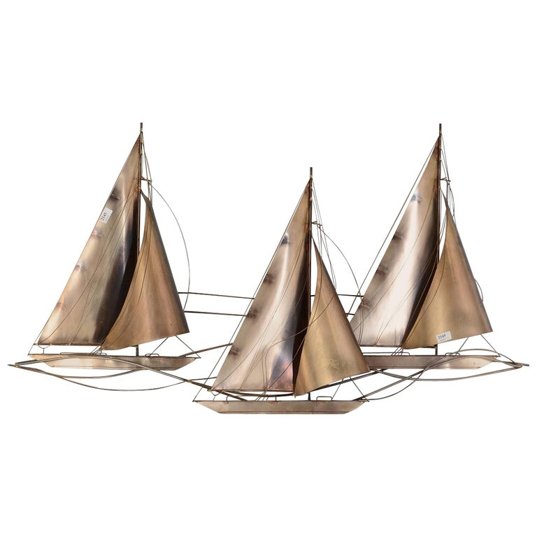 Curtis Jere Racing Sailboats Wall Sculpture, Signed & Dated 1977 For Sale