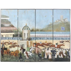 Large Four-Panel Hand-Painted Screen