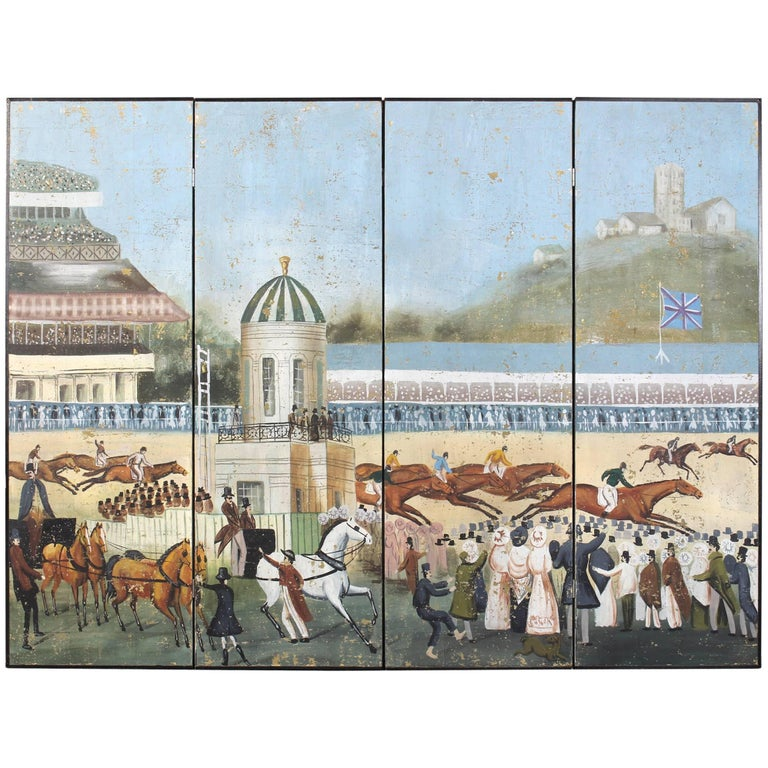Large Four-Panel Hand-Painted Screen 1
