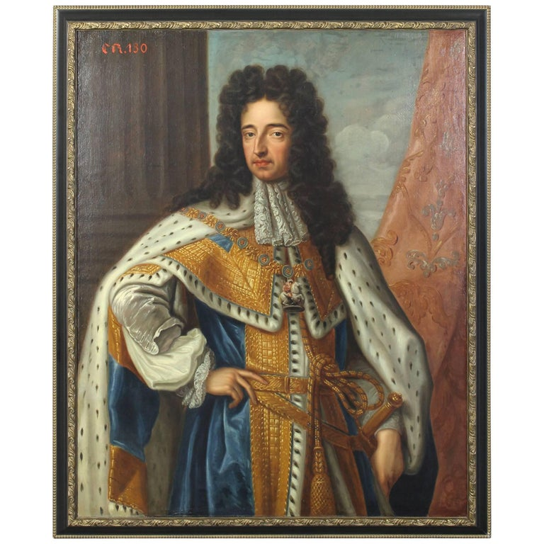 Oil on Canvas Portrait of King Charles II For Sale