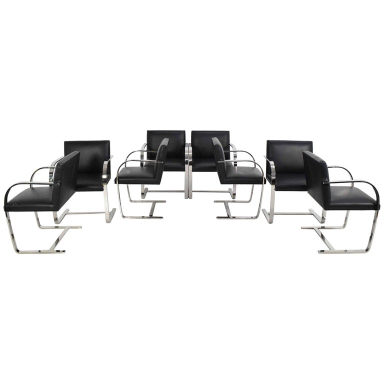 Flat Bar Brno Chairs by Mies van der Rohe for Knoll For Sale