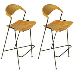 Pair of Arthur Umanoff Bar Stools for Raymor, Restored