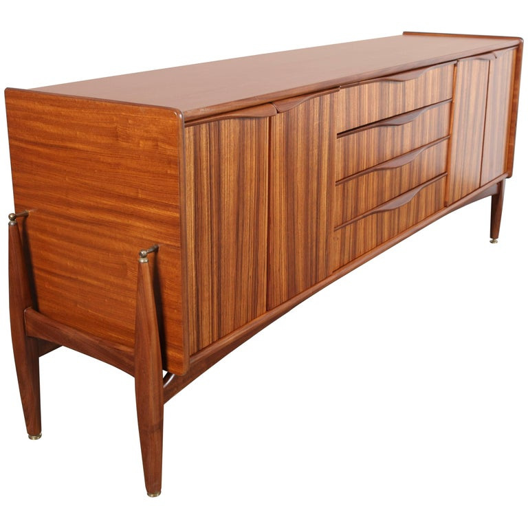 British Four-Door Four-Drawer Tola Sideboard by Elliots of Newbury For Sale