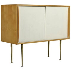 Mid-Century High Sideboard 1950s Minimalist France Sliding Doors and Brass Legs