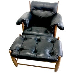 Sergio Rodrigues Black Leather Mole Chair and Ottoman
