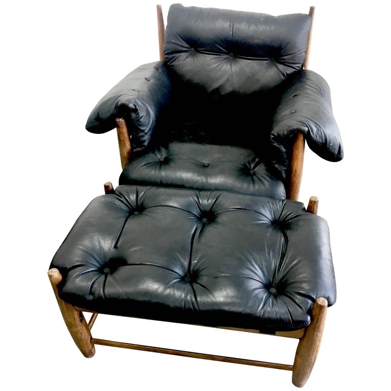 overstuffed leather club chair sergio rodrigues black leather mole chair and ottoman for sale at