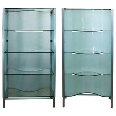 Dual Sided Glass and Metal Enclosed Display Vitrine Étagère Cabinet Room Divider