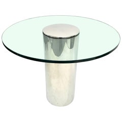 Chrome Polished Stainless Steel Cylinder Base Game or Center Table, USA, 1970s