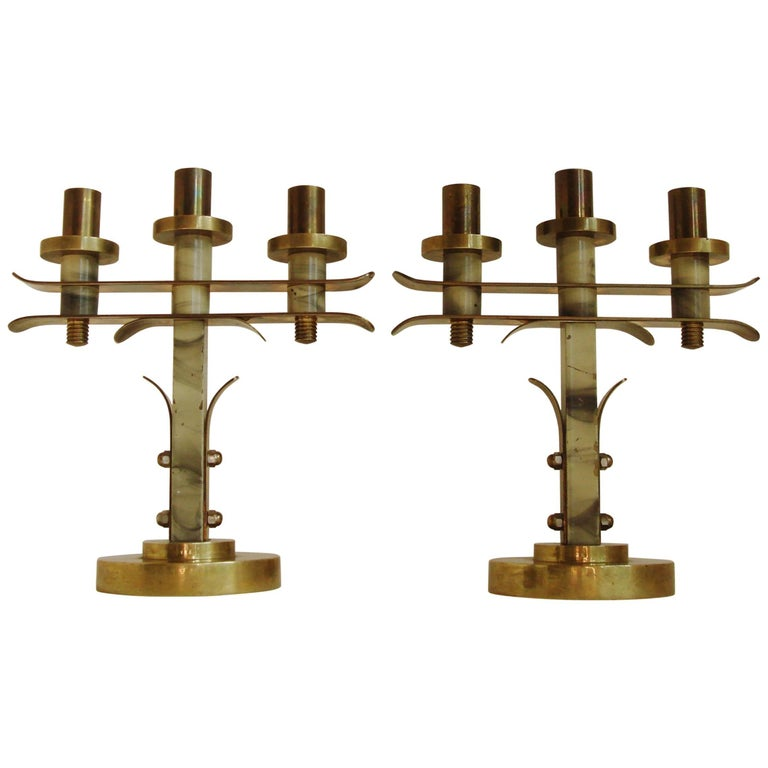 Pair of Belgian Art Deco Cast Brass and Faux Painted Marble Triple Candleholders