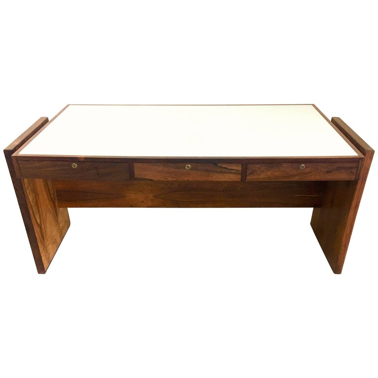 Brazilian Designer Joaquim Tenreiro Vintage Rosewood Desk with White Glass Top