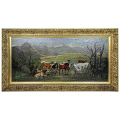 "Oil Painting ""on the Countryside"" by Carl Schild, Signed 1899"