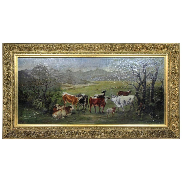 """Oil Painting """"on the Countryside"""" by Carl Schild, Signed 1899"""