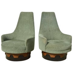 Adrian Pearsall High Back Swivel Chairs, a Pair