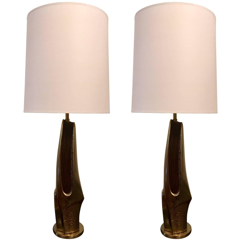 Pair of 1970s American Laurel Company Sculptural Table Lamps For Sale