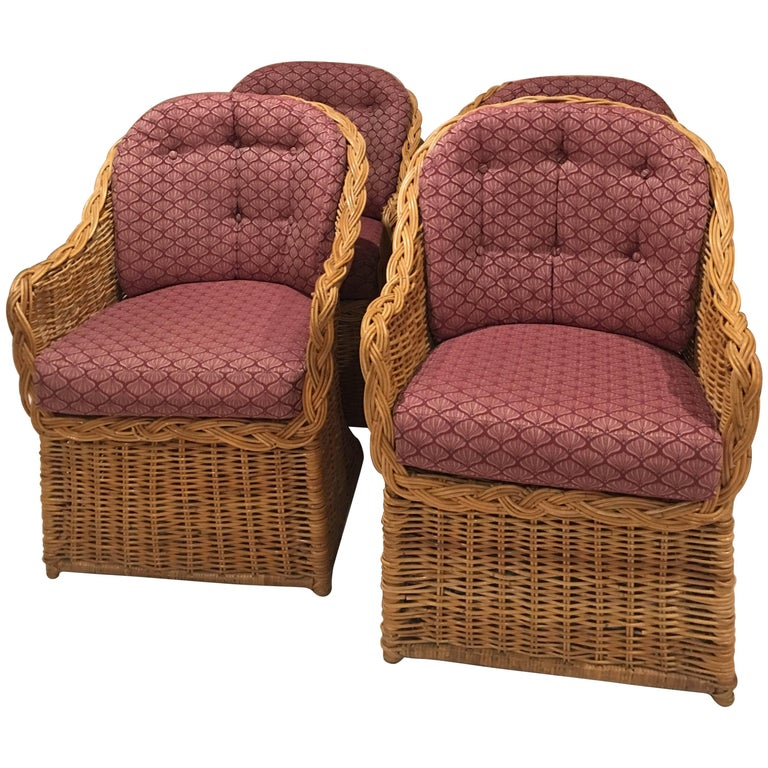 Set Of Four Rattan Wicker Armchairs Dining Tub Barrel