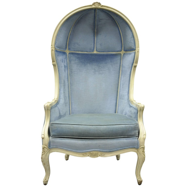 Vintage French Provincial Louis Xv Style Upholstered Canopy Porter Hood Chair For