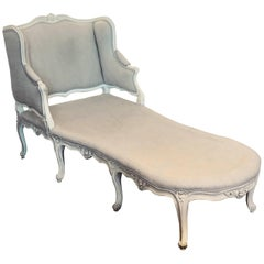 Late 18th or Early 19th Century Painted Louis XV Chaise Longue