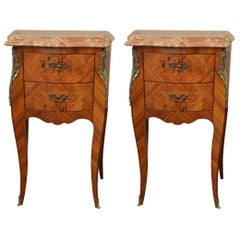 Pair of Louis XV Style Inlay Side Tables, Two Drawers and Marble Topsop