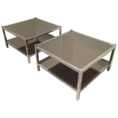 Pair of Large Chrome Side Tables with Bronzed Mirrors