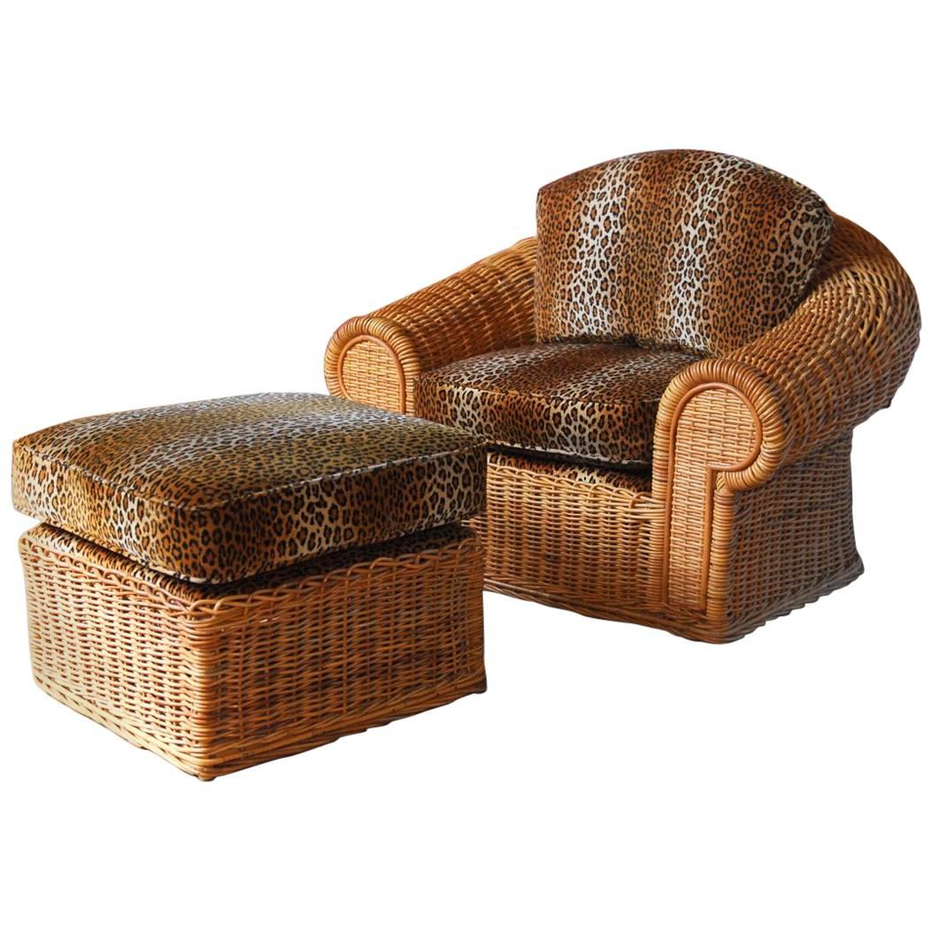 Michael Taylor Inspired Wicker Armchair With Scalamandre Style For Sale