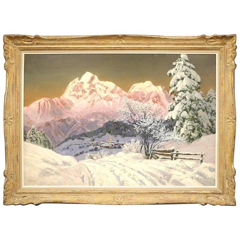 """Alpenglow"" Mountain Scene Painting by Alois Arnegger"
