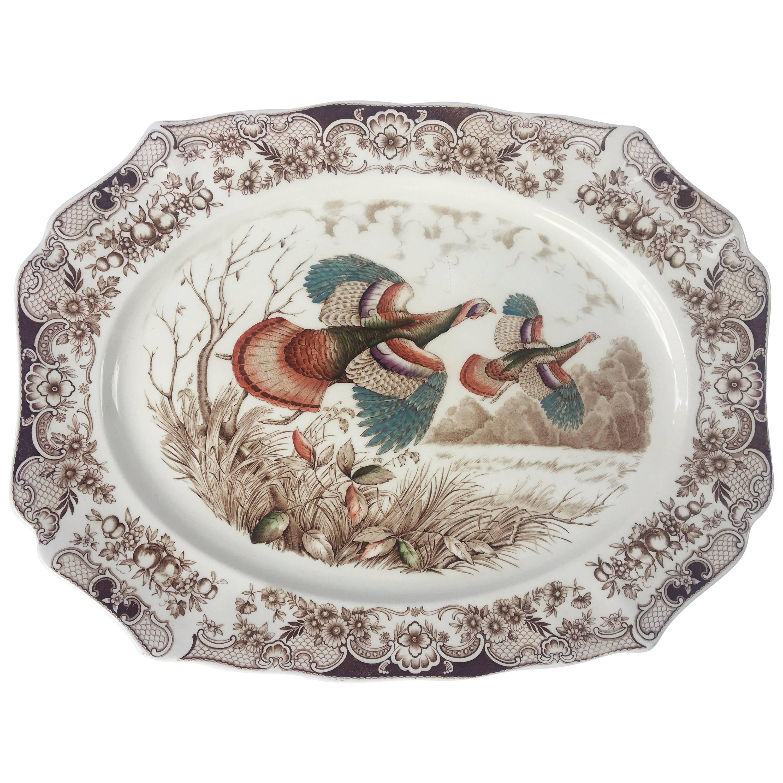English Transferware Large Turkey Platter, Flying Turkeys by Johnson Brothers