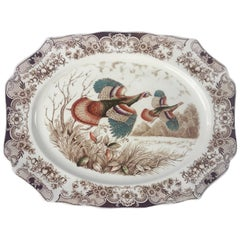 English Transferware Large Platter, Flying Turkeys by Johnson Brothers
