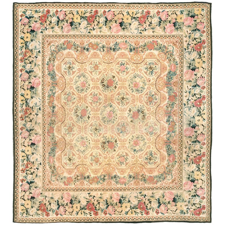 Ukranian Pile Carpet with Floral Design, 19th Century