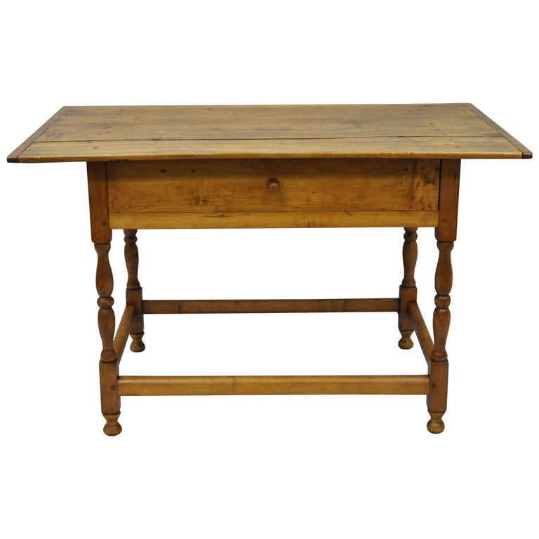 American 19th Century Maple Pine Wood Farm Tavern Table Primitive Rustic Barn