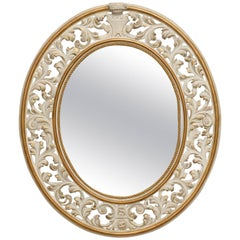 Italian Oval White Framed Mirror with Reticulated Frame