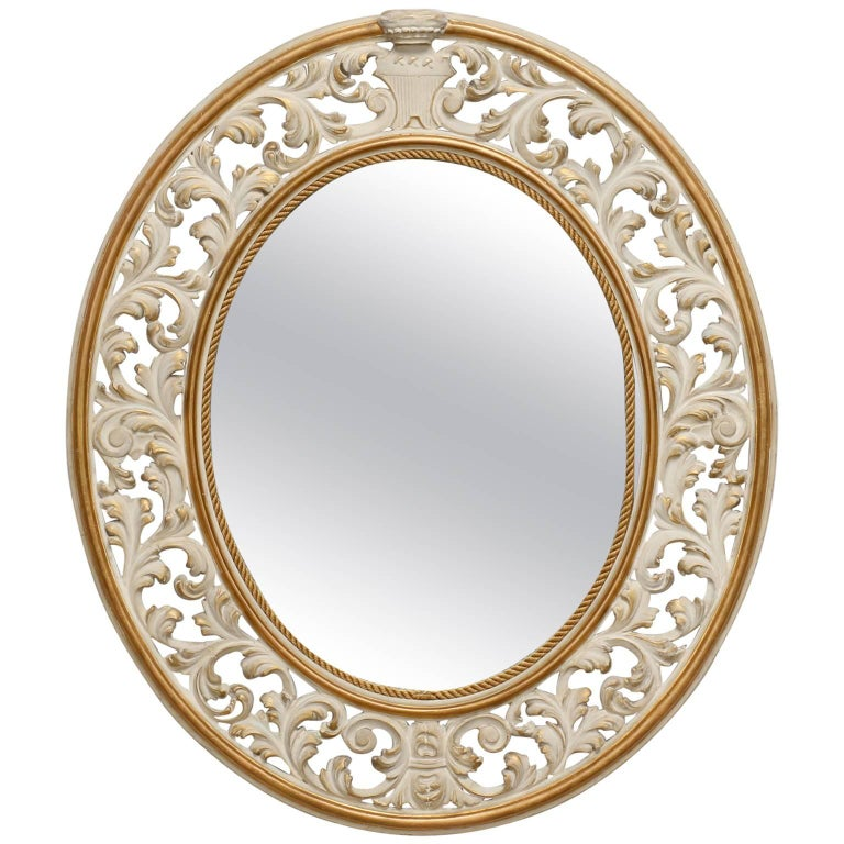 Italian oval white framed mirror with reticulated frame for White framed mirrors for sale