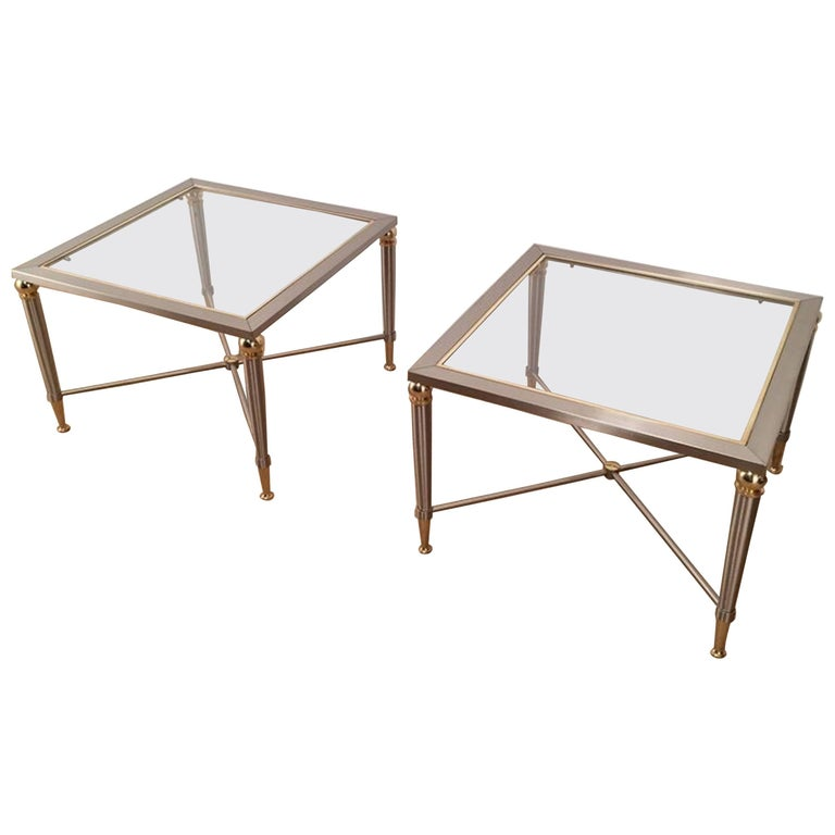 Pair of Brushed Steel and Brass Side Tables For Sale
