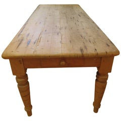 Large New England Antique Country Pine Dining Table or Desk