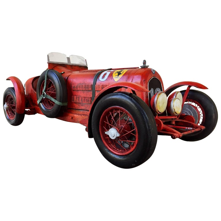 "Large Painted Sculpture ""1933 Scuderia Ferrari Monza"" Alfa Romeo Paul Jacobsen 1"