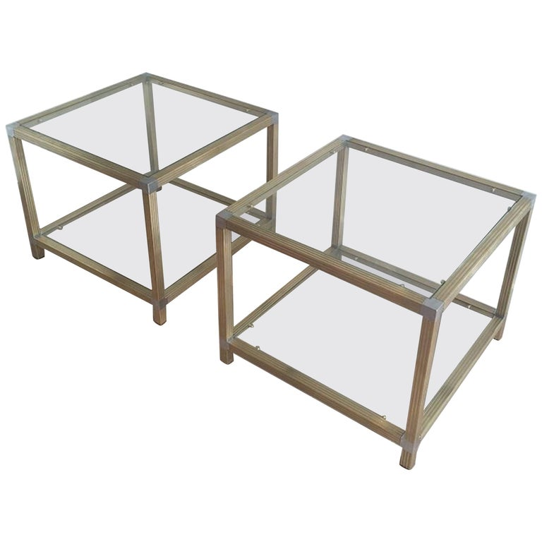 Pair of Brass Side Tables with Nickel Accents