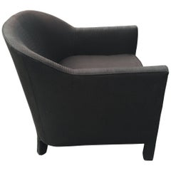 Black Barrel Back Club Chair in the Style of Ward Bennett