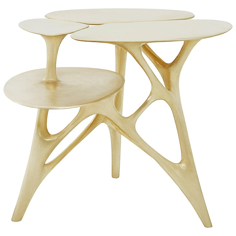 Lotus Small Side Table or End Table Brass by Zhipeng Tan