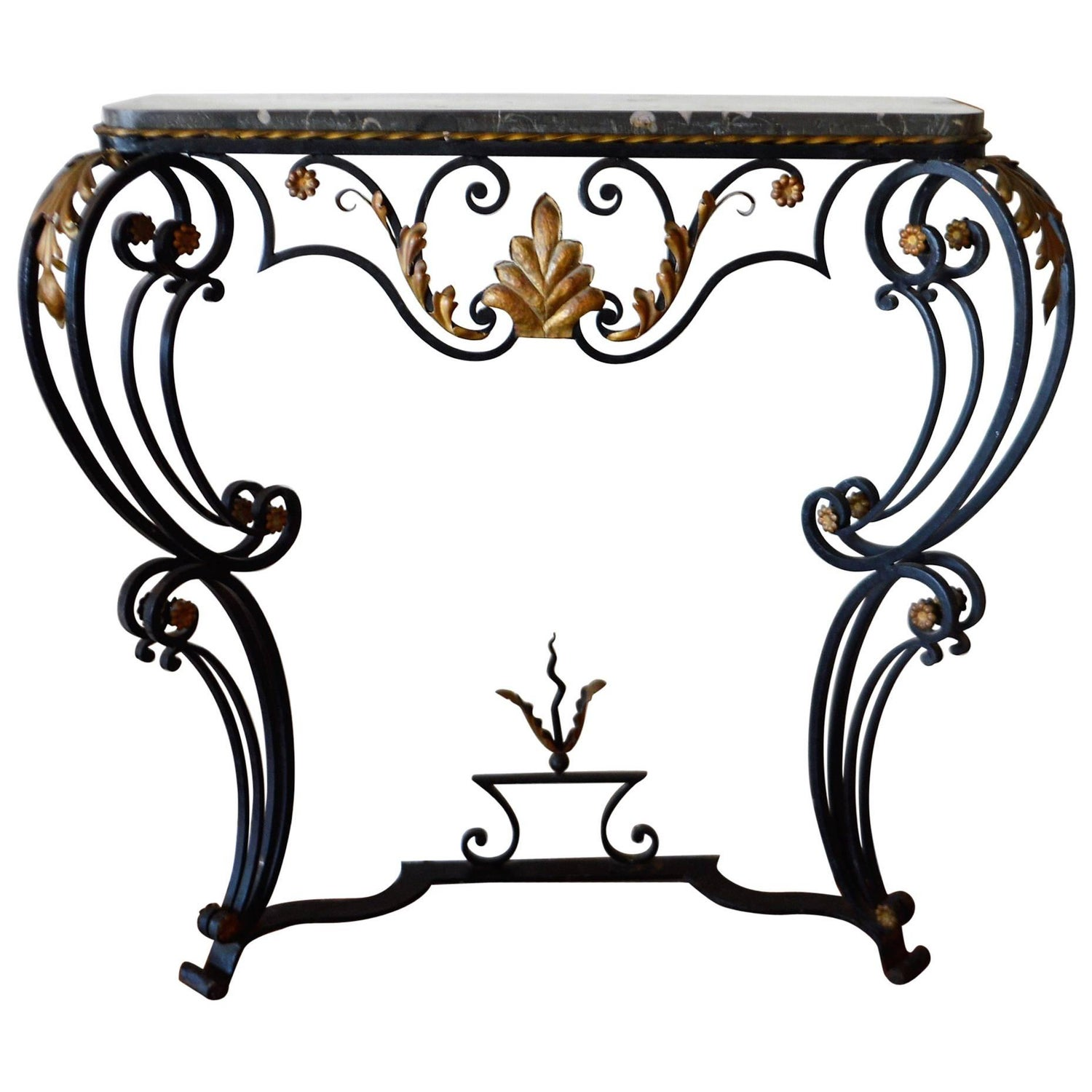 Louis xv style wrought iron console table with marble top at 1stdibs louis xv style hand forged black wrought iron console with gilt and marble top geotapseo Choice Image