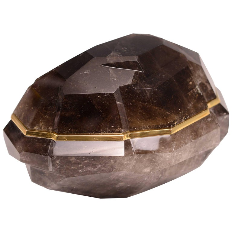 Fine carved Faceted DarkRock Crystal Box with Cover