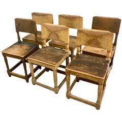 Six Wooden Primitive Swedish Chairs ca. 1780-1800