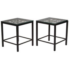 Pair of Custom End Tables Made with French Metal Grill