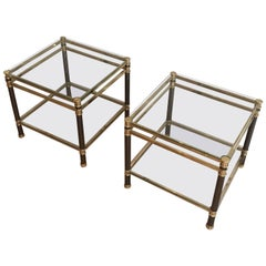 Pair of French Gun Metal and Brass Side Tables