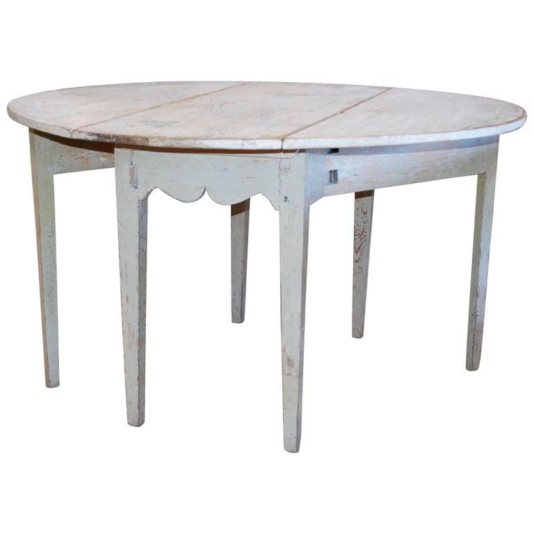Early 19th Century, Swedish, Drop-Leaf Farm Table For Sale