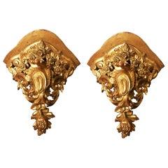 Pair of Large Mid-18th Century Venetian Rococo Gilt Corner Brackets